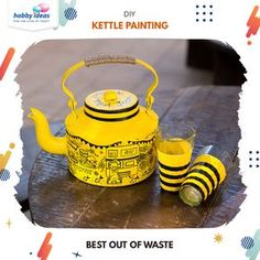 Love your city? Well then, flaunt it! Kettle painting is all the rage right now and rightly so. Take your old aluminium kettle and turn into a proud piece of art with Fevicryl Acrylic Colours. Bottle Painting, Bottle Art, Diy Painting, Sand Crafts, Rock Crafts, Diy And Crafts, Glass Painting Designs, Paint Designs, Mehendi Decor Ideas