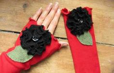 Red Arm Warmers with Black Roses