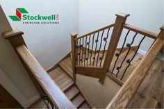 Solid oak dogleg staircase with black, wrought iron spindles Loft Staircase, Timber Staircase, Staircase Design, Stairs, Wrought Iron Spindles, Staircase Manufacturers, Bespoke Staircases, House Extensions, Solid Oak