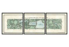 """VINTAGE PRINT GALLERY   Central Park Triptych   1,000.00 retail   each panel 18""""sq   18"""" x 54"""" overall   giclée print on archival paper, wood, glass"""