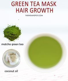 Green Tea Hair Growth Mask: Mix a tbsp of coconut oil with matcha green tea. Part your hair and apply the mask. Let the mixture stay for half an hour before you rinse and shampoo.This green tea mask will stimulate hair growth and prevent hair loss. Coconut Oil Hair Treatment, Coconut Oil Hair Growth, Coconut Oil Hair Mask, Hair Mask For Growth, Hair Growth Treatment, Green Tea For Hair, Oil For Curly Hair, Hair Rinse, Healthy Hair Growth