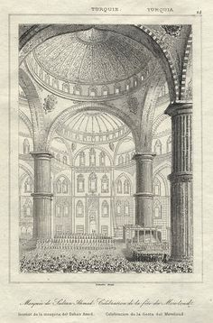 Turkey, Istanbul, Mosque of the Sultan Ahmed, 1847