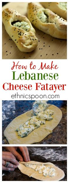 Cheese Fatayer A really simple recipe to make Lebanese cheese fayer with pizza dough, feta, yogurt, mozzarella and chopped parsley. Delicious, simple and exotic too! Lebanese Cuisine, Lebanese Recipes, Middle East Food, Middle Eastern Recipes, Savory Pastry, Pastry Chef, Eastern Cuisine, Arabic Food, Arabic Dessert