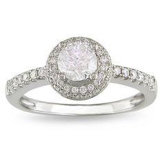3/4 CT. Diamond Frame Engagement Ring in 14K White Gold