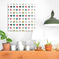 Square heart patterned illustration on a white background. Colorful Hearts Wall Art by Linda Woods from Great BIG Canvas. Explore romantic wall art from Great BIG Canvas. Big Wall Art, Heart Wall Art, Wall Art Prints, Framed Prints, Photo To Art, Big Canvas, Abstract Wall Art, Love Art, Art Decor