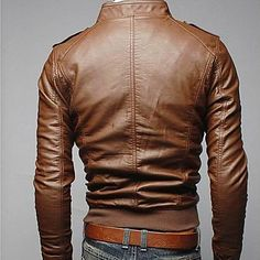 Mens Slim Fit Top Designed Jacket Coat Sexy PU Leather Stylish 2color 4size