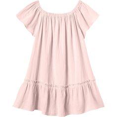 Rebecca Taylor Off Shoulder Gauze Dress ($275) ❤ liked on Polyvore featuring dresses, malibu peach, rebecca taylor, mid thigh dress, pink off shoulder dress, sleeve dress and flounce hem dress