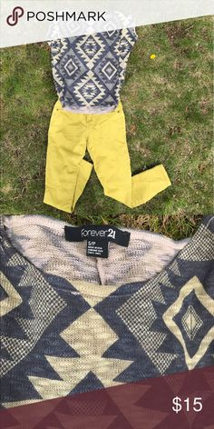 Batwing top An adorable Aztec print batwing top. This knitted top is super comfy and soft. It's loose at the top, and fits more like a tee shirt at the bottom. This top matches well with yellow jeans (also in my closet) a perfect look for spring and summer. Forever 21 Tops
