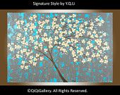 """Original Abstract Landscape Painting Heavy Texture Impasto Palette Knife painting """"Spring blossom"""" by QIQIGALLERY"""