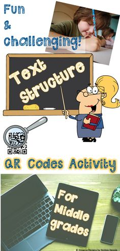 Fun activity incorporates technology into reading & identifying informational TEXT STRUCTURE.  QR codes are linked to kid-friendly news articles.   Students enjoy reading, matching the articles to text structures, and staying engaged in learning.  Check it out : https://www.teacherspayteachers.com/Product/TEXT-STRUCTURE-QR-CODES-Reading-Center-Activity-HIGH-INTEREST-Grades-5-6-7-8-9-1790061