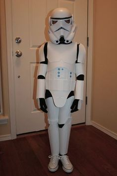 This is my cheap attempt at stormtrooper costumes for my 4 and 6 year olds. It's made to be lightweight and flexible for comfort but still hold true to the movie...