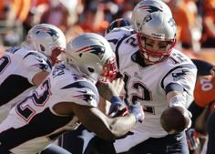 New England Patriots quarterback Tom Brady (12) hands off to New England Patriots running back Stevan Ridley (22) during the first half of the AFC Championship NFL playoff football game against the Denver Broncos in Denver, Sunday, Jan. 19, 2014. (AP Photo/Charlie Riedel)