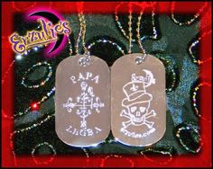 Voodoo Bling Diamond Engraved dogtags for the Road Opener Papa Legba exclusively at Erzulie's Voodoo New Orleans!