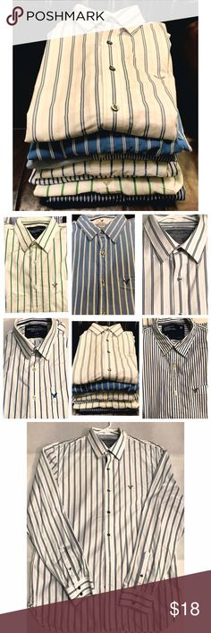 Mens Striped Vintage Fit Cotton Shirts Long Sleeve These are 5 striped shirts by American Eagle. Colors include:                                                      pink and blue on white,                                      green on white,                                                 wide blue on white,                                           narrow blue on white and                                 white on blue  Fabric is 100% cotton and is machine washable, tumble dry.  Size Large…