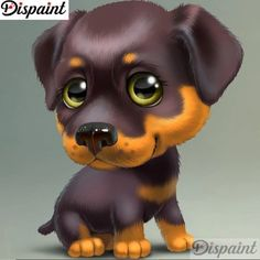Diamond Painting Cartoon Rottweiler Kit Offered by Bonanza Marketplace. Cute Animal Illustration, Cute Animal Drawings, Cute Drawings, Rottweiler, Cute Baby Dogs, Cute Little Dogs, Animal Pictures, Cute Pictures, Baby Animals
