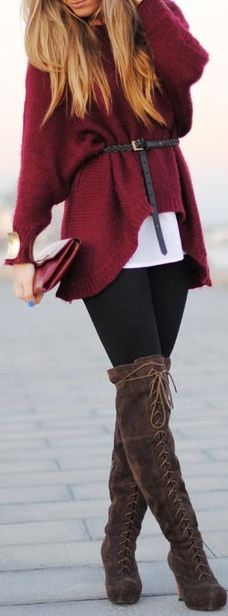 Slouchy sweater and boots.