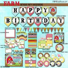 FARM PARTY PRINTABLE COLLECTION http://mimisdollhouse.com/product/farm-party-printable-collection/  #Farm #FarmParty #BarnAnimals #BirthdayParty
