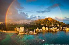 Stunning!! Rainbow around Diamond Head. Photo by Cameron Brooks