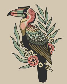 "2,996 curtidas, 32 comentários - Hilary Jane (@hilaryjanetattoos) no Instagram: ""I'm adding this ol' tropical hornbill to my flash book in case of cancellations / flash days """