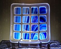 Streaked Squares White to Dark Blue on Clear Slumped Fused Glass Bowl Fused Glass Plates, Fused Glass Art, Glass Dishes, Bottle Slumping, Square Art, Diy Centerpieces, Bottle Art, Stained Glass Windows, Gifts For Wife
