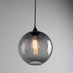 MODERN INDUSTRIAL CEILING LAMP BLACK GREY GLASS SHADE CAFE LOFT PENDANT LIGHT