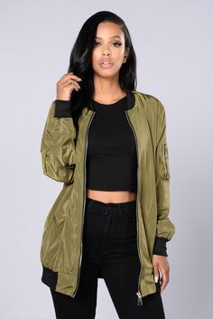 Sky's The Limit Bomber Jacket - Olive - http://www.popularaz.com/skys-the-limit-bomber-jacket-olive/