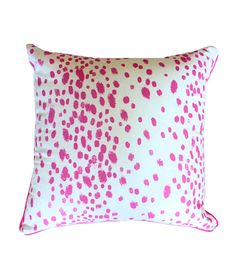 """Pink Flecked Pillow Cover with Piping - $38.00    18"""" x 18"""" cotton pillow cover with white background and hot pink dotted pattern and matching hot pink piping. Insert not included. All pillows are made to order so please allow up to two weeks for delivery."""