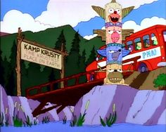 The episode was inspired by a staff member who worked as a teenager as a counselor in a summer camp and saw exposed live wires and other hazards. The producers said this episode was meant to relate to those who went to summer camps or took jobs in one. Dear Mom And Dad, Goat Cartoon, Simpsons Episodes, Krusty The Clown, What's So Funny, Live Wire, Make It Through, Arts And Crafts, Christmas Ornaments