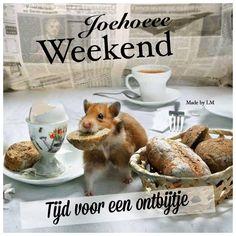 Tijd voor een ontbijtje. Fijn weekend Weekend Humor, Happy Weekend, Dog Food Recipes, Qoutes, Vintage, Bonjour, Quotations, Quote, Vintage Comics