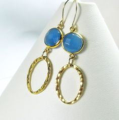 "MiShelli Designs - ""Spring 2013 Collection"" Blue Chalcedony Gemstone Gold Dangle Earrings, $55.00 (http://www.mishellidesignsjewelry.com/spring-2013-collection-blue-chalcedony-gemstone-gold-dangle-earrings/)"