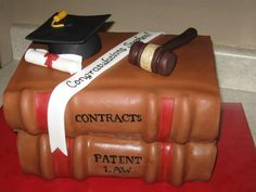 Law School Graduation Cake.  I think I would prefer for the books to be civil procedure and evidence.  Yes, I am a dork.