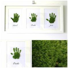 Le Tableau végétal personnalisé : 3 empreintes avec noms 27/52cm : Décorations murales par phyto-deco