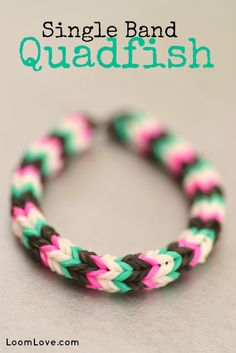 How to Make a Single Band Quadfish Bracelet (on the Monster Tail) - Rainbow Loom Video Tutorial