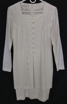 Donna Ricco Women's Size 4 Rayon Linen White Long Sleeve Layered Look Dress #DonnaRicco #Sheath