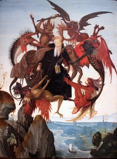 Michelangelo - The Torment of Saint Anthony, c. The Torment of Saint Anthony is the earliest known painting by Michelangelo, painted after an engraving by Martin Schongauer when he was only 12 or 13 years old Memes Arte, Classical Art Memes, Martin Schongauer, Temptation Of St Anthony, Art History Memes, Renaissance Kunst, High Renaissance, Renaissance Memes, Art Occidental