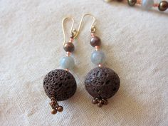 Chocolate Brown Lava Bead Earrings with by HuntingDragons on Etsy, $18.00