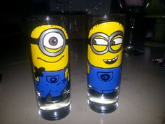 set of 2 shot glass custom hand painted Despicable Me 2 by Deziray, $25.00