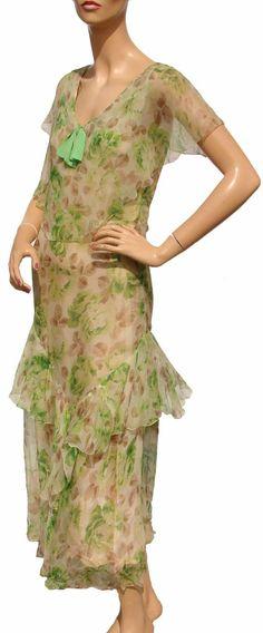 Vintage 1930s Silk Chiffon Dress Pastel Green & Brown Floral Print