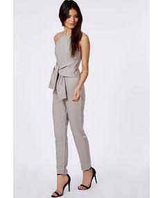 124818b4e855 Crepe Tie Waist Jumpsuit Ice Grey - Jumpsuits - Missguided Grey Jumpsuits