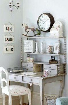 Workspace Idea - mismatched pieces - via  Copy Cat Chic