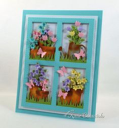 Card Making Ideas | Paper Crafts | Handmade Greeting Cards | Flower Cards | Paper Flowers | Garden Die Cuts | Garden Cards | Mothers Day Cards. Click on the picture if you would like to see how I made this card.