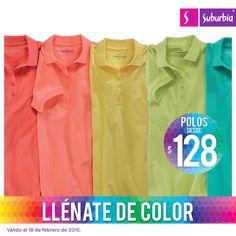 ¡Llena tu look de color con una playera tipo polo! Encuentra para todos en casa y llévatelas desde $128.