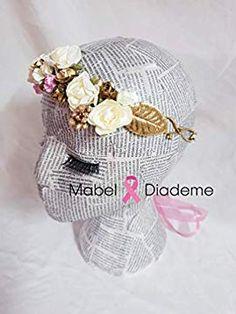 37c70ce25 Mabel Diademe corona dorada pistilos rosas blancas y malva comunion novia  bodas tocados accesorios pelo festival