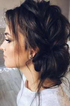Beautiful updo with side braid wedding hairstyle for romantic bridess. Get inspired by this braid updo bridal hairstyle,loose updo messy wedding hairstyles Hairstyles loose Beautiful updo with side braid wedding hairstyle for romantic brides Prom Hair Updo, Hair Dos, Homecoming Updo, Medium Hair Styles, Short Hair Styles, Medium Hair Updo, Up Dos For Medium Hair, Bun Styles, Braid Updo Styles