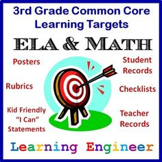 New and Improved - Learning Targets for the Common Core State Standards 3rd Grade ELA & Math - Posters, Rubrics, Student Records, Teacher Records and checklists. $