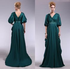 Wholesale Evening Dresses - Buy Gorgeous V-neck Emerald Green Evening Dresses with Half Sleeves A Line Empire Waist Long Sexy V Neck Formal Party Elegant Formal Prom Dress, $116.57 | DHgate