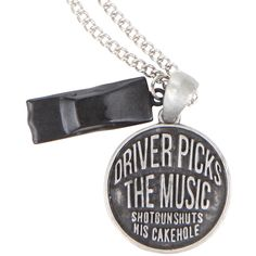 Hot Topic Supernatural Driver Picks Music Necklace ($7.87) ❤ liked on Polyvore featuring jewelry, necklaces, black, chain necklace, charm jewelry, chains jewelry, circle pendant necklace and charm necklace