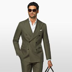 Green cotton suit by SuitSupply Mens Fashion Blazer, Suit Fashion, Male Fashion, Green Suit Men, Stylish Men, Men Casual, Smoking, Slim Suit, Cotton Suit