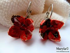 Origami Red Mini Flower Earrings Red Origami Yuzen by MarysaArt