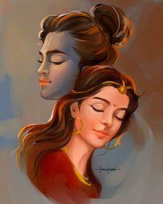 Radha Krishna Wallpaper, Radha Krishna Images, Lord Krishna Images, Radha Krishna Love, Shree Krishna, Lord Shiva Painting, Krishna Painting, Shiva Art, Hindu Art
